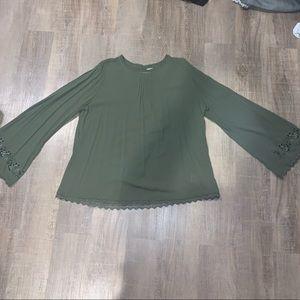 Green peasant blouse